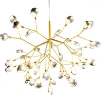 Nordic style romantic and beautiful chandelier hotel led hanging glass lamp with firefly shape
