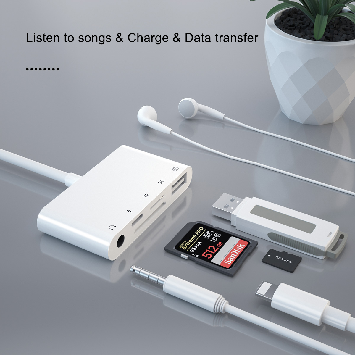 5 Port Card Reader Light ning USB SD card reader multiport 3.5mm Audio Headphone Jack Adapter all in 1 card reader for iPhone