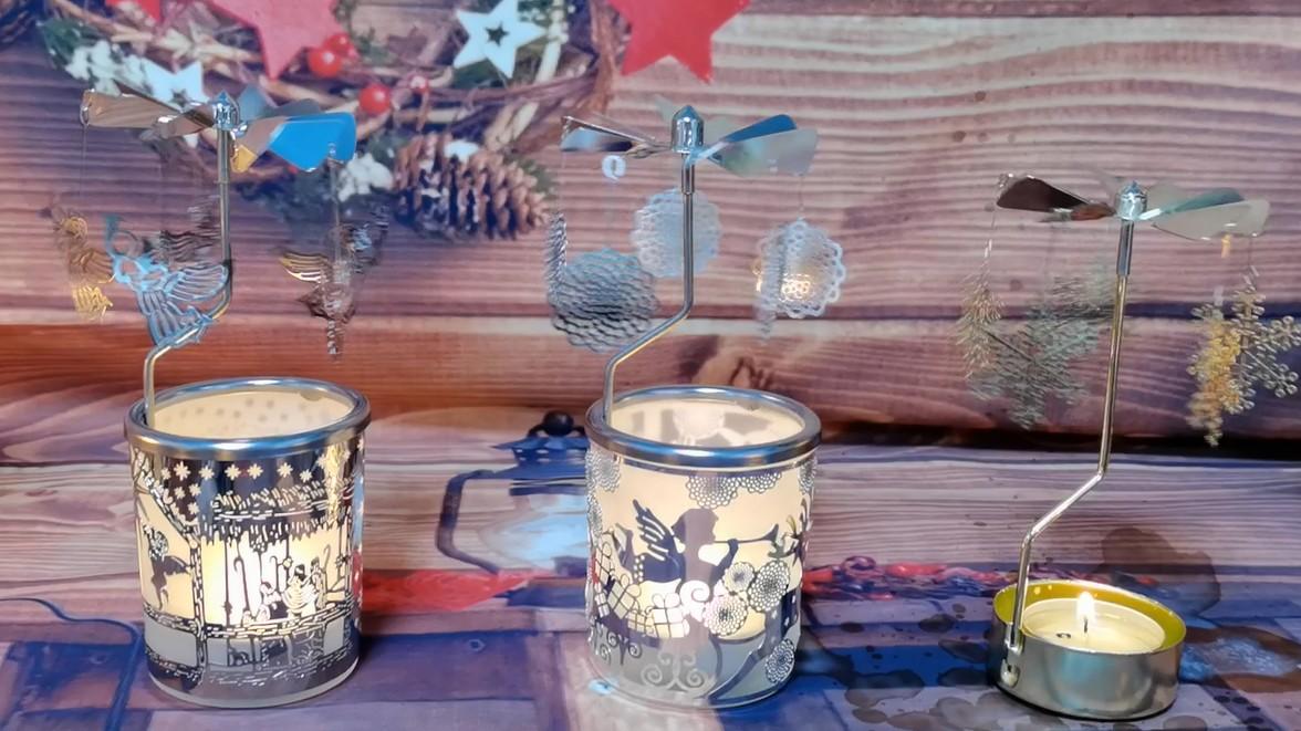 브랜드 맞춤형 크리스마스 트리 회전 목마 회전하는 Tealight 캔들 홀더