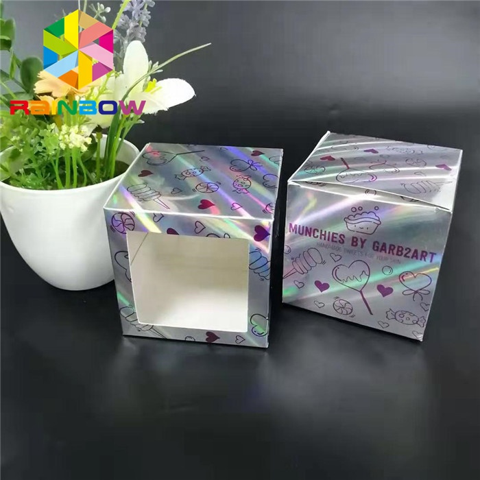 China custom recycled foldable hologram energy bottle laser paper box packaging gift box
