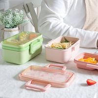 BPA FREE Eco Friendly bamboo fiber kids Bento Lunch Box Children for pinics and take-out food container present OEM available