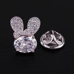 Micro-inlaid zircon cute crystal bunny universal a