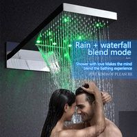 Modern beautiful Led light rain shower head led light temperature control bathroom shower 230*554*30 mm
