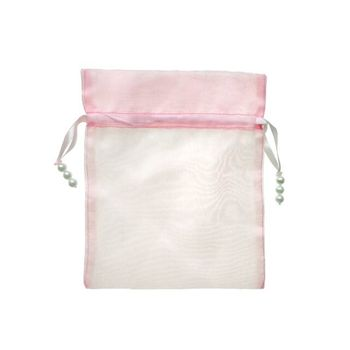 Pink sheer drawstring gift organza pouch packaging bags with custom logo printing