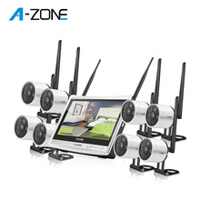 Indoor Outdoor 1080P 8ch Nirkabel <span class=keywords><strong>Sistem</strong></span> <span class=keywords><strong>CCTV</strong></span> 8ch Wifi Nvr Kit dengan Monitor