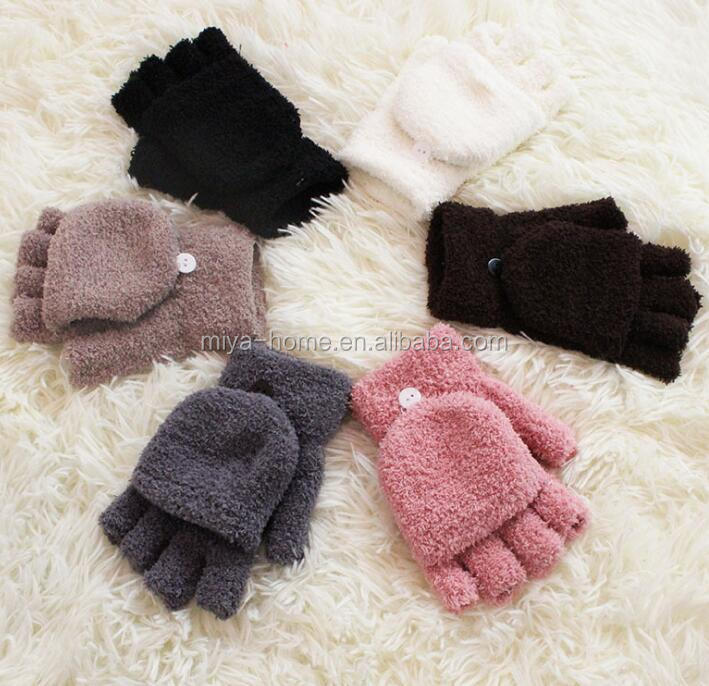 Winter ladies warm flip half finger gloves / plus velvet thick men's knitted gloves / wholesale coral velvet gloves