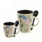wholesale painted ceramic coffee mugs with spoon