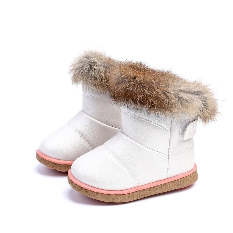 CIOR Toddler Snow Boots Girls Winter Warm Fur Rabbit Kids Boy Outdoor Shoes