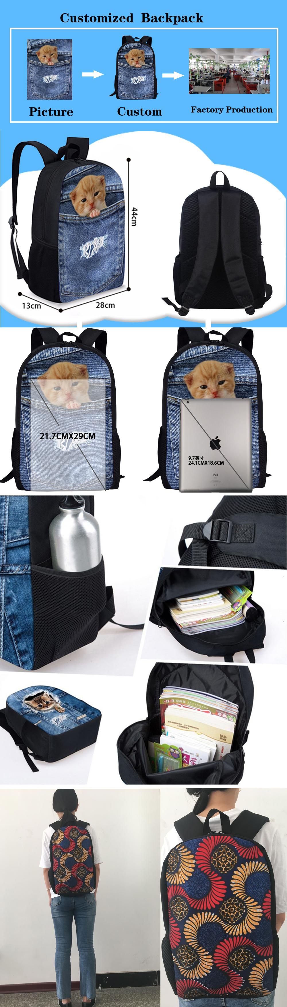 3 pçs/set Primária Schoolbag Sacos de Livro Meninos Legal 3D Animal Lobo Impressão Mochila Estudante Escola Bags para Crianças Mochila