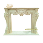 Freestanding wall fireplace mantel natural beige marble stone fireplace surround