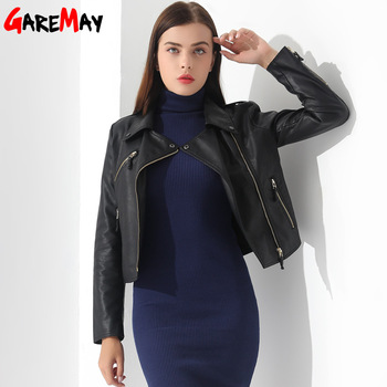 Female Casaco Feminino Chaqueta Mujer Ladies' Leather Jaqueta Short Outwear Faux Leather Jacket Coat Women Autumn Basic Jackets