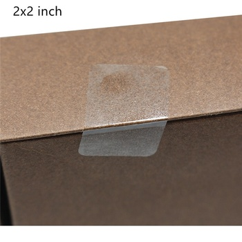 Hybsk 2x2 inch Rectangle Square Crystal Clear Retail Package Seals Circle Wafer Stickers/Transparent Labels 500 Per Roll