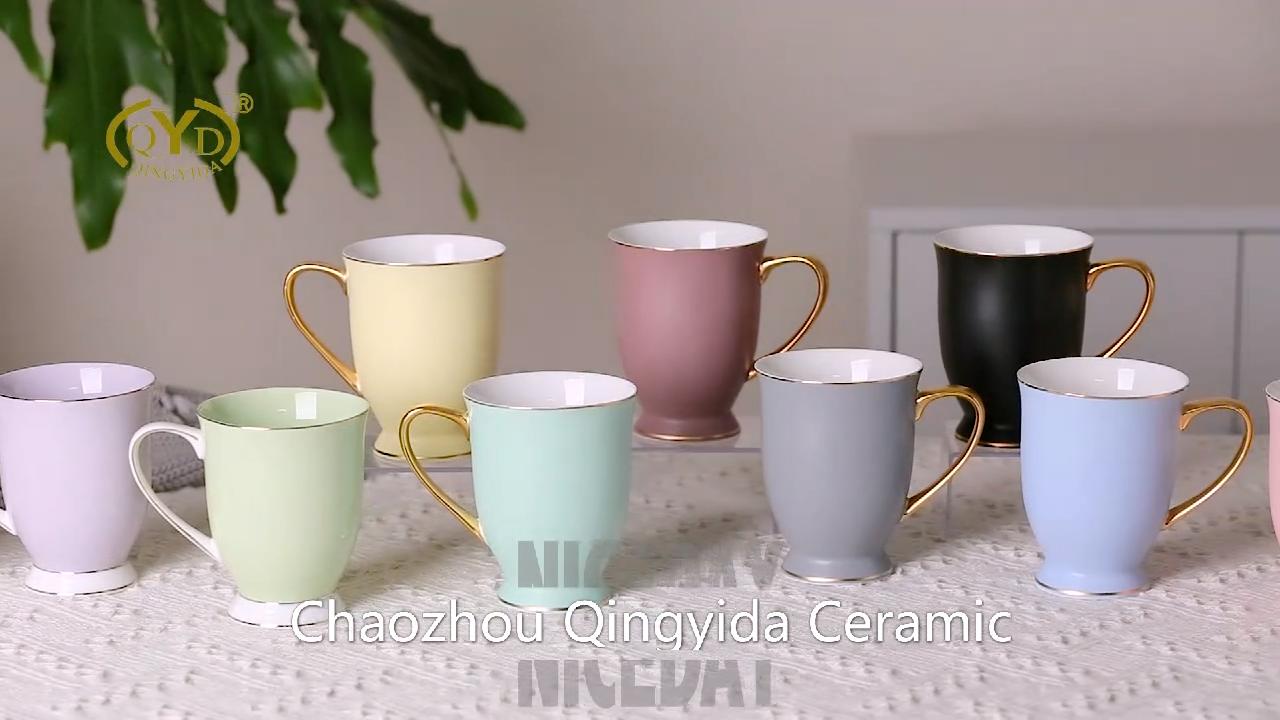 QYD Colorful Clay Glaze Fancy Cups And Custom Colors High Quality Cheap Wholesale Coffee Tea Porcelain Ceramic Mug Gift Set