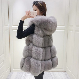 2019 Amazon wholesale fashion European Style Fur Vest Fake Fox Fur Women's Gilet/ Faux Fox Fur Waistcoat