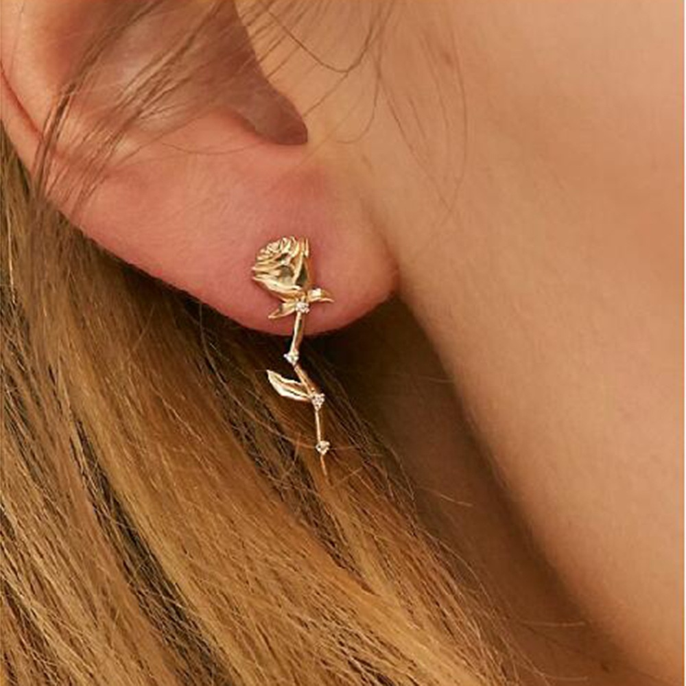 2020 Fashion Women <strong>Rose</strong> Blossom <strong>Flower</strong> Stud Hoop <strong>Earrings</strong>