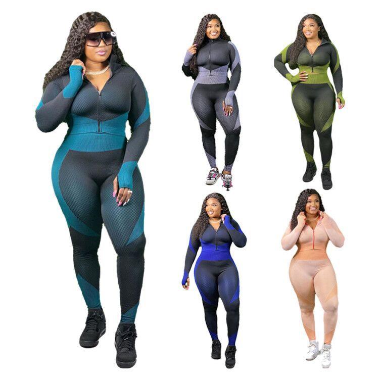 2020 güz kış giyim kadınlar için moda 2 parça rahat seti kravat boya moda yoga giysileri artı boyutu kadın giyim