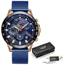 LIGE мужские часы, мужские часы, лучший бренд, Роскошные наручные часы, кварцевые часы, синие часы, мужские водонепроницаемые часы, хронограф(Китай)