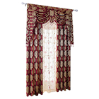 Luxury European style living room beaded beautiful valance curtain with matched embroidery sheer panel