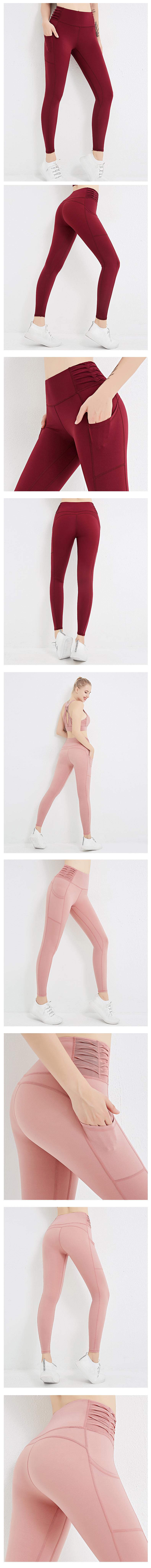 high waisted tight yoga side seam ruching flex legging yoga pants with side pockets