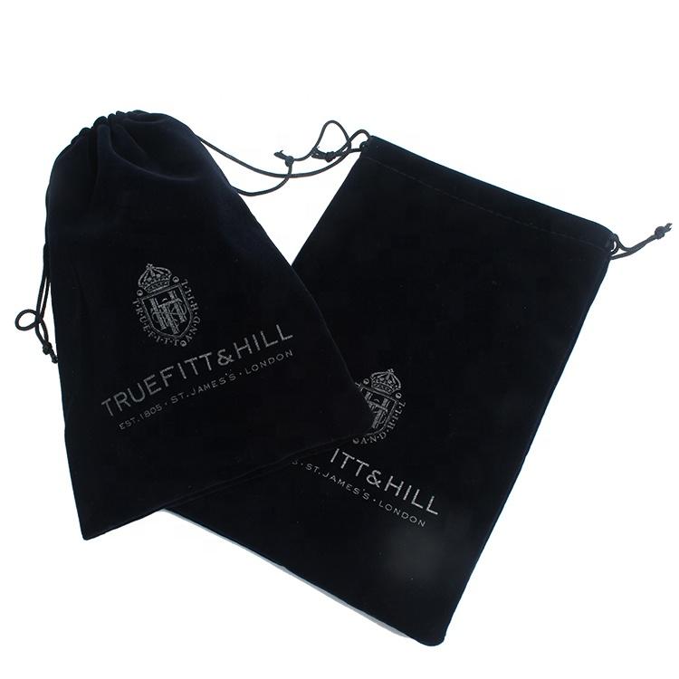 Design personalizado Logotipo da Impressão De Veludo De Luxo Sacos de Tecido com Cordão