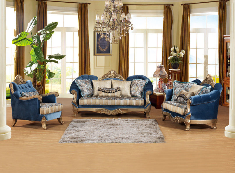 S2187 French furniture style luxury fabric sofa set