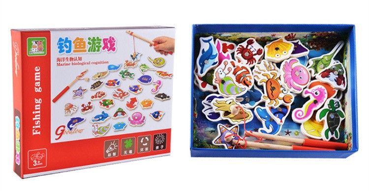 Baby Educational Toys 23Pcs Fish Set Wooden Magnetic Fishing Game Toy