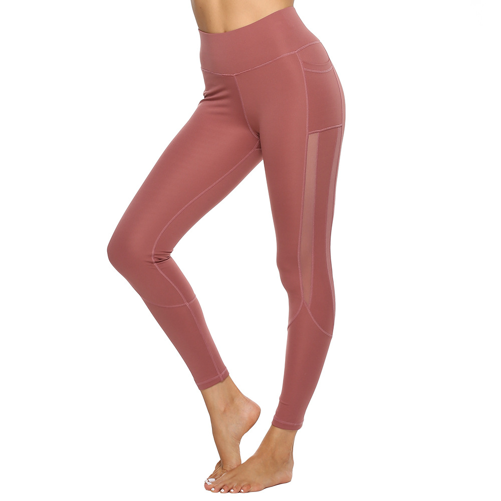 Hot sale new fashion Women's  Yoga Pants with Side Pocket hollow cut High Waist   GYM Fitness  Leggings