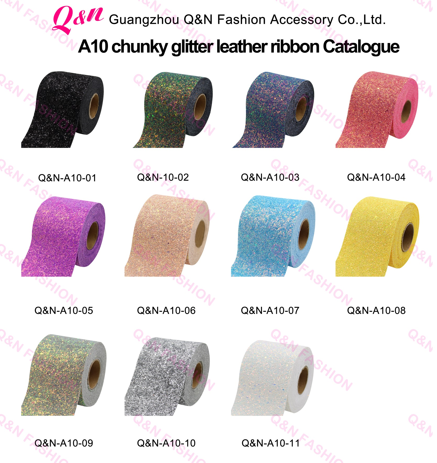Factory Wholesale Sparkle Foil Gold Chunky Glitter Leather Ribbon