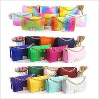 Hot selling lattice chain candy color jelly bag women purses handbags