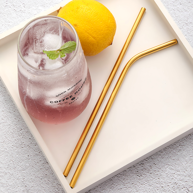 Wholesale Custom Logo eco Reusable Cocktail Stainless Steel Drinking Straws Metal Straw with brush and bag