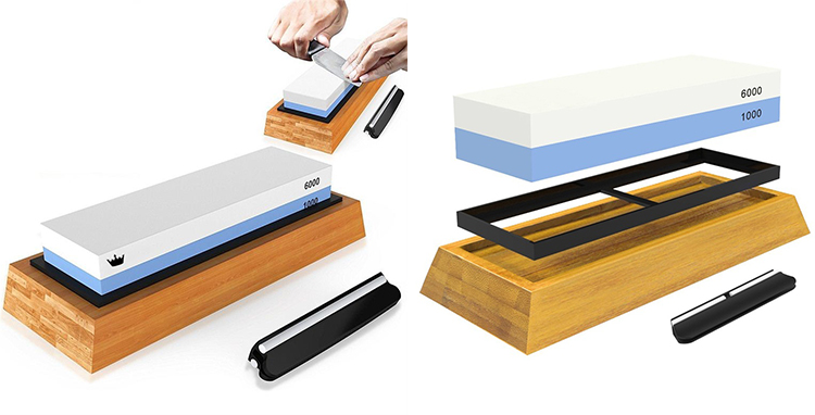 Japanese combination Whetstone 3000/8000 with bamboo holder, silicone base and angle guider