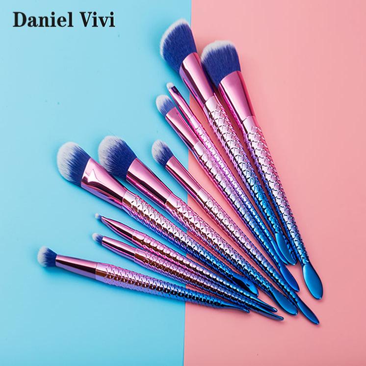 Абсолютно новый дизайн градиент 10 шт. профессиональный набор для макияжа, набор кистей для макияжа-розовый
