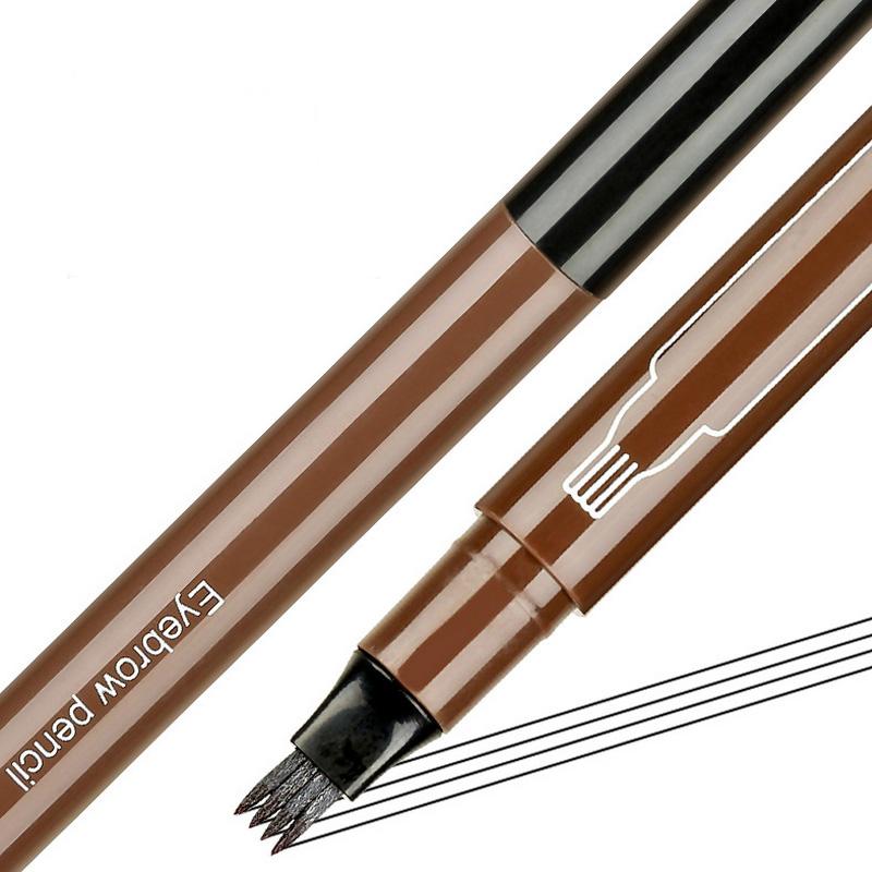 Großhandel Private Label Kosmetik Augenbrauen stift Wasserdichte Gabel spitze Augenbrauen Tattoo Pen 4 Head Sketch Liquid Eyebrow Enhancer