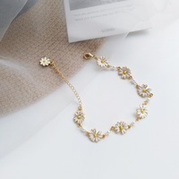 JINGLIANG Hot Sell Daisy Bracelet Cute Link Sunflower Charm Bracelet For Women Fashion Accessory