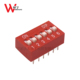 PCB 2.54mm pitch push button flat raised dial red blue 6 poles dip switch
