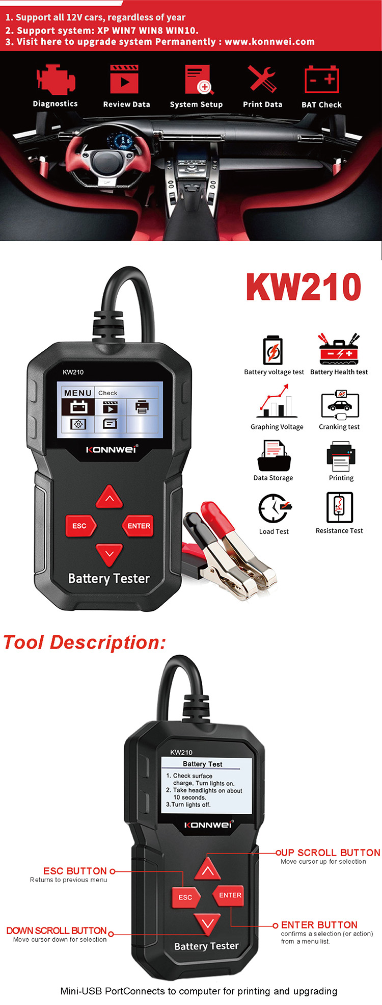 Digital 12v Car Battery Tester Automotive Battery Load Tester And Analyzer With Battery Life Percentage Voltage Resistance Cca Buy Battery Tester With Printer Automotive Battery Load Tester Cca Battery Tester Product On Alibaba Com
