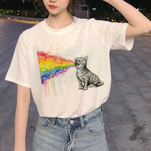 Милая кошка забавная мягкая девушка Эстетическая аниме одежда летняя одежда для женщин Хиппи белый топ летний топ уличная одежда(China)