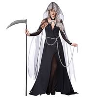 Witch Costumes Black Queen Halloween Clothes Sexy Horror Witch Dresses Halloween Costumes For Women Scary Ghost Demon Costumes
