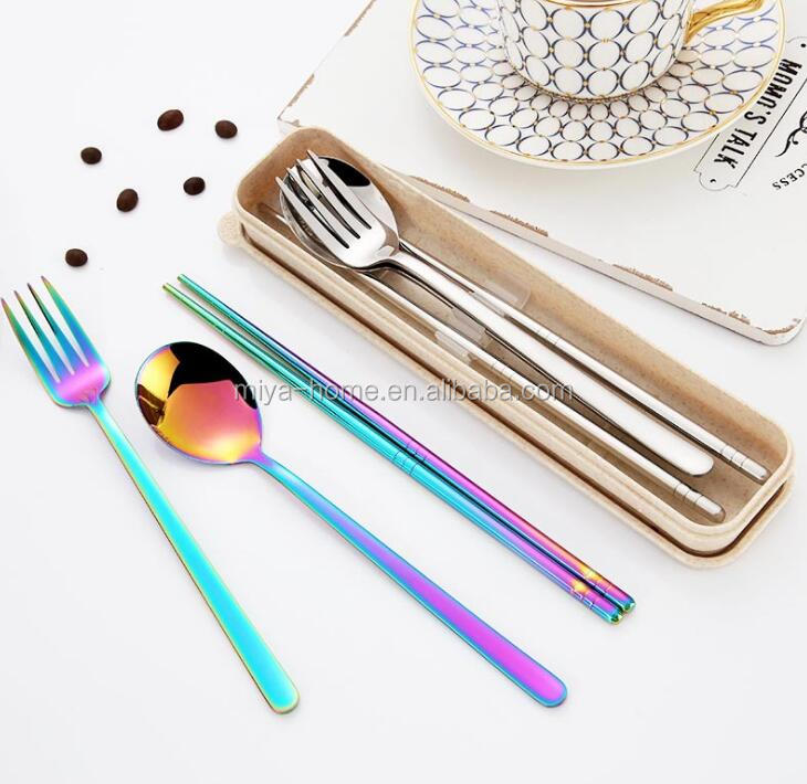 Korean creative portable student cutlery box / three-piece 304 stainless steel adult fork / chopsticks spoon set