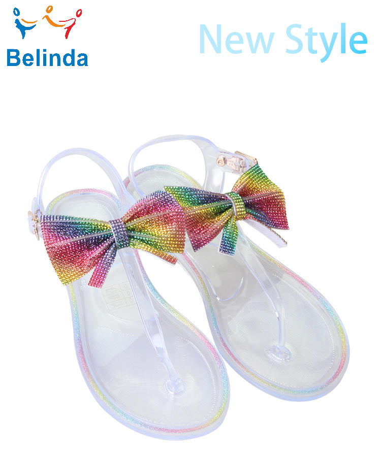 Colorful Woman Shoes Fashion Summer Beach Rhinestone Flat PVC Jelly Sandals