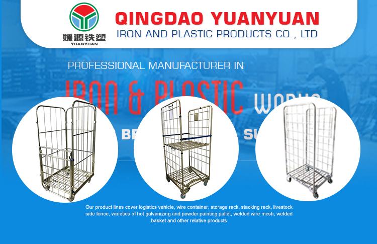 Aangepaste 2 zijdig logistiek container opslag winkelwagen metalen 4 wielen gegalvaniseerd trolley roll kooi pallet voor magazijn
