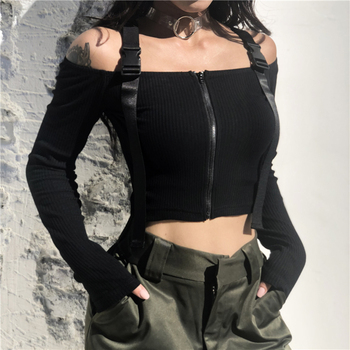 Off The Shoulder Buckle Strap Black Front Zip Up Crop Fall Black Women Tops Shirt