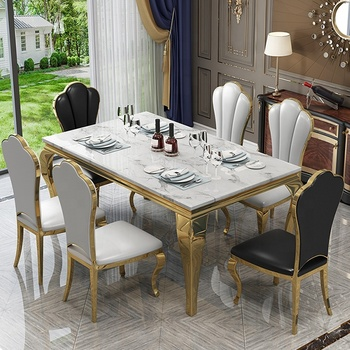Metal silver rectangle hotel banquet dining table set CT003