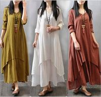 Women Maxi Dress 2019 Autumn New False Two-piece Long Sleeve Round Neck Loose Plus Size Irregular Dress