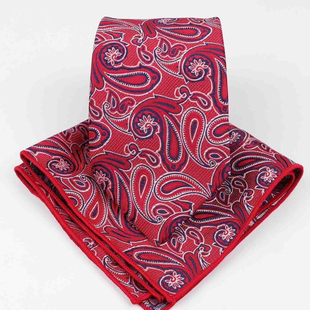 Mens Formal Paisley Polyester Pocket Square Tie Handkerchief Necktie Ties Lots Two Piece Set