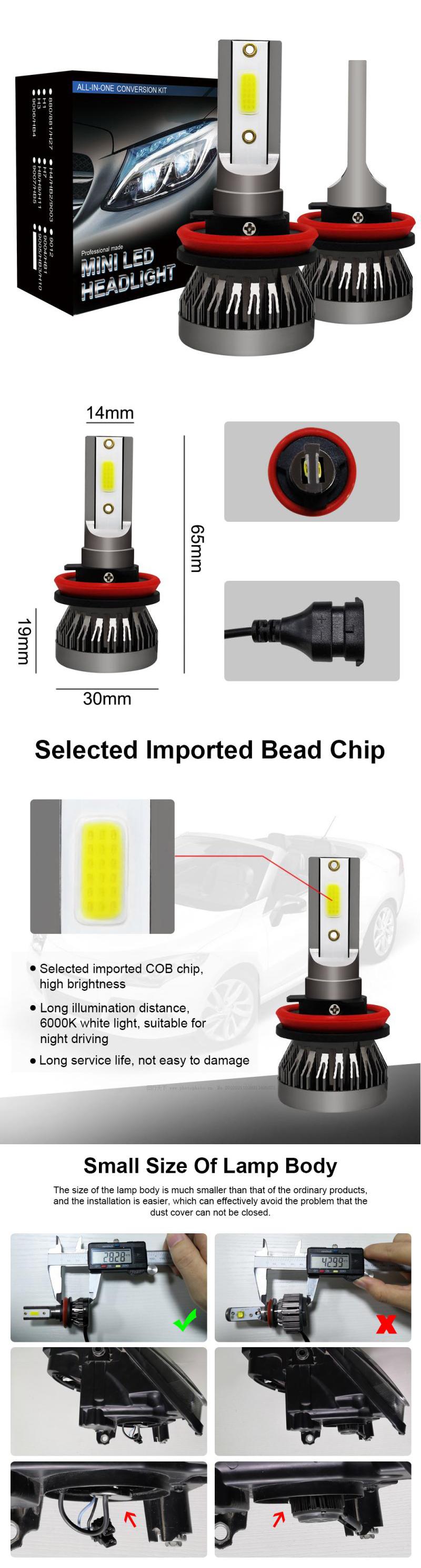 Düşük fiyat 5000LM araba Led far lambaları h1 h3 h7 h8/h9/h11 9005 9006 880 881 DC 12 24V oto araba için led far