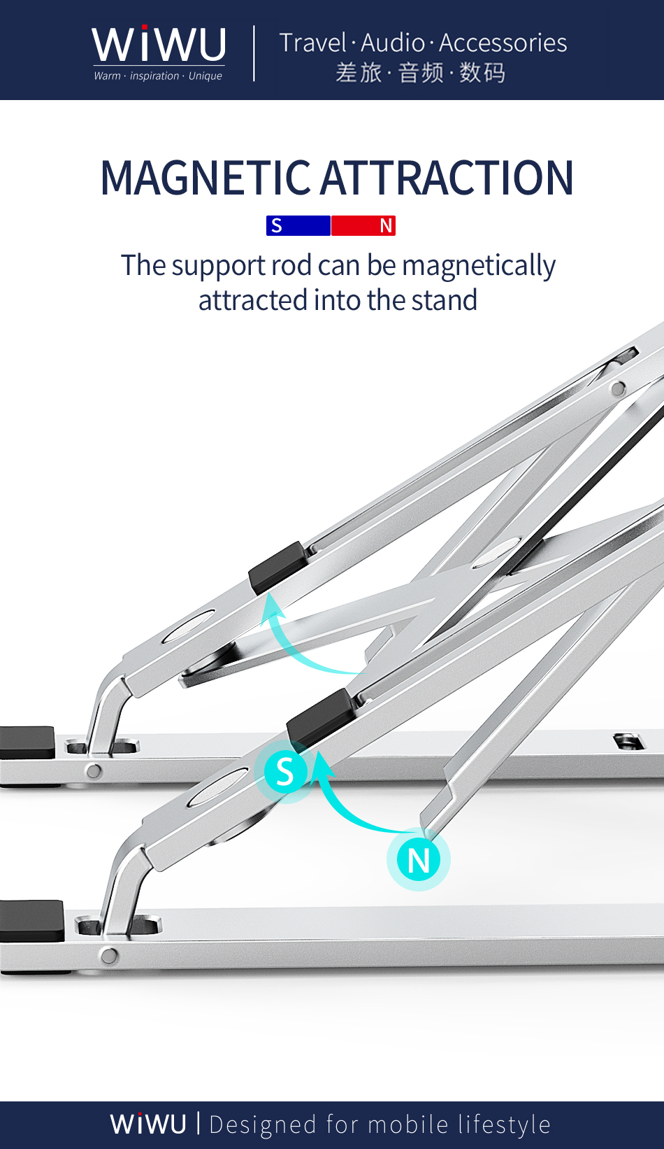 WIWU top selling portable foldable adjustable laptop stand