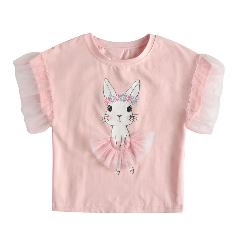 Summer Baby Girls Clothes Kids Cotton T Shirt Pink Cute Rabbit Print T Shirts Lace Ruffle Sleeve Tshirt