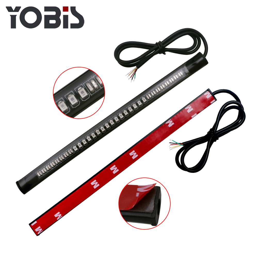 Yobis Bar Strip Brake Stop Turn Signal License Plate Light Integrated 3528 SMD 48 Motorcycle Tail Light with 12V