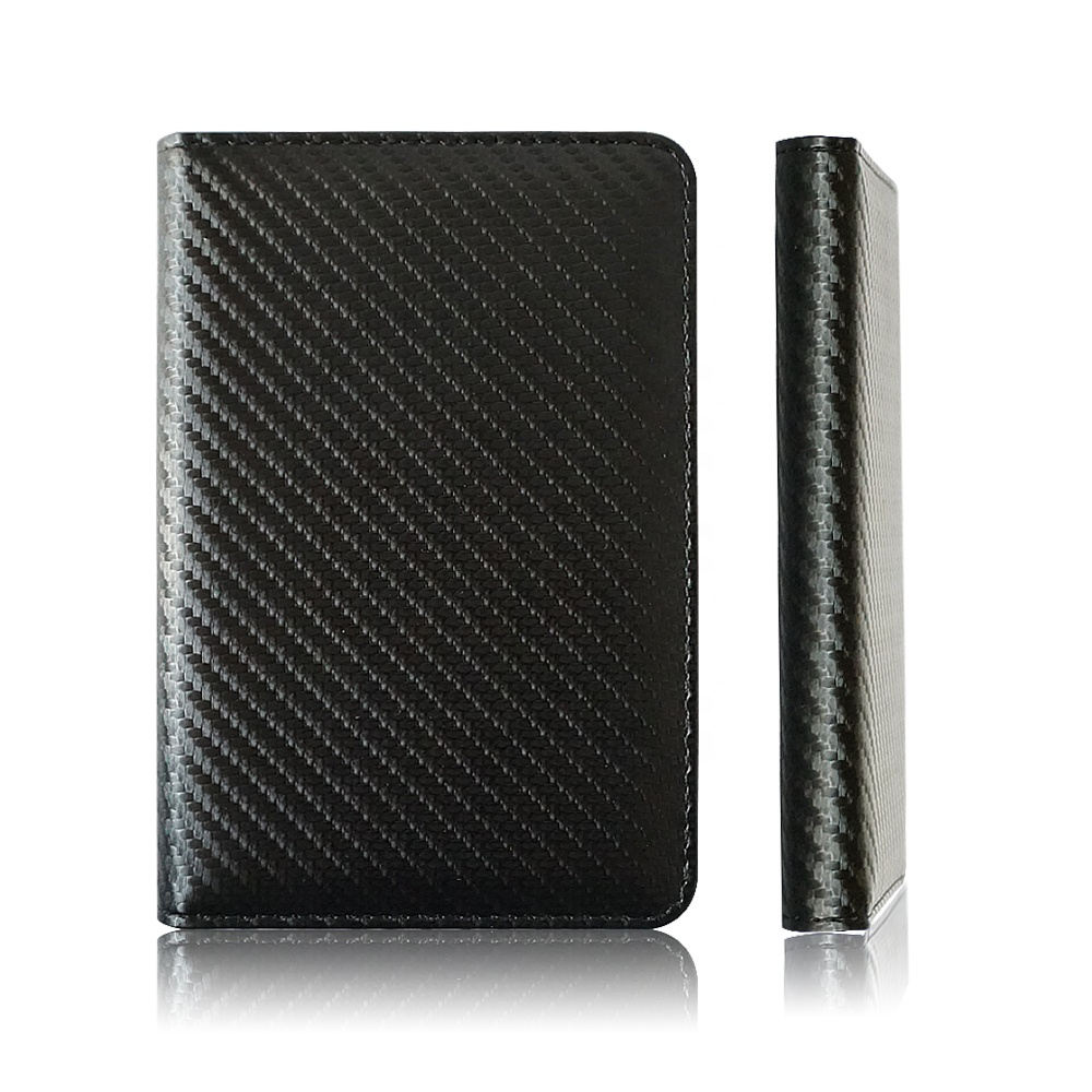 RFID Carbon Fiber Pattern PU Leather Passport Holder Sleeve Business Travel Documents Passport Cover Holder Wallet Support OEM